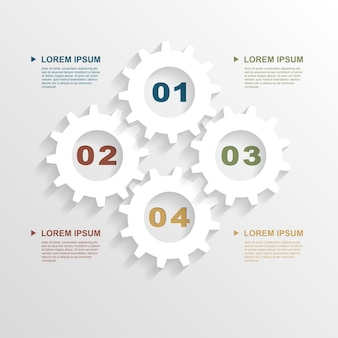 Modello di infografica con ingranaggi di carta, modello per presentazione aziendale,
