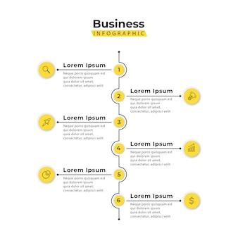 Modello di infografica verticale giallo 6 punti