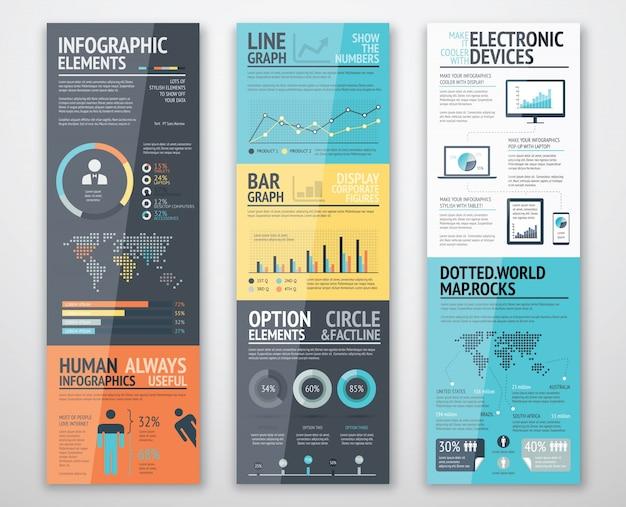 Modelli infografici in ordine ben organizzato pronto per l'uso