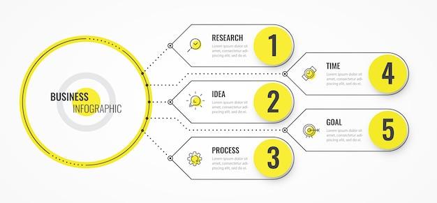 Modello di progettazione linea sottile infografica con frecce e 5 opzioni o passaggi.