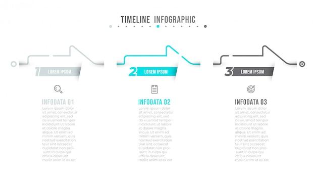 Design infografico linea sottile con frecce e 3 opzioni o passaggi.