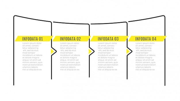 Design sottile linea infografica con frecce e 4 opzioni o passaggi.