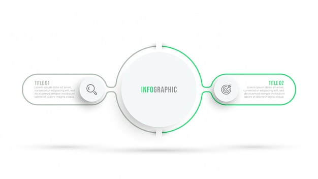 Design minimal infografica linea sottile con cerchio e icone. concetto di visualizzazione dei dati aziendali con 2 opzioni o passaggi.