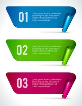 Banner di pergamene spiegate infografica.