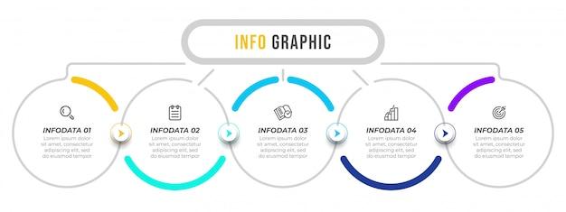 Modello di progettazione di vettore di infografica con frecce e icone.