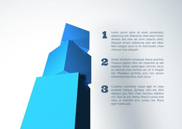 Infografica con piramide cubo 3d blu