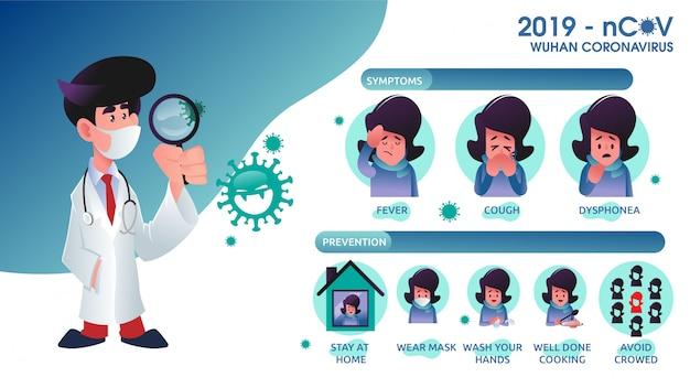 Infografica con dettagli sul coronavirus covid19 con uomo ammalato illustrato