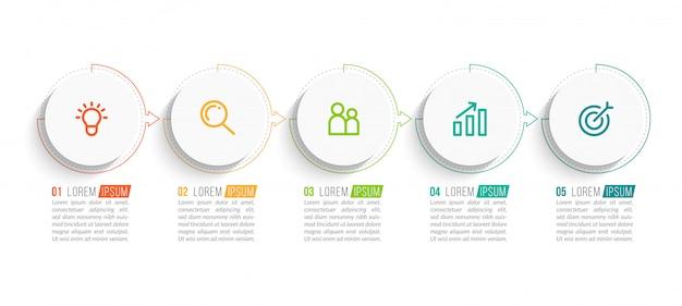 Infografica con cinque passaggi