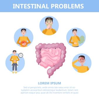 Infografica con problemi intestinali. uomo con digestivo