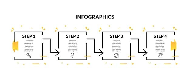 Infografica con forma geometrica a linea quadrata e 4 opzioni o gradini. perfetto per presentazioni, diagrammi di processo, flussi di lavoro e banner