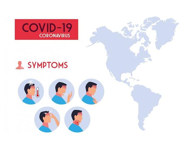 Infografica con sintomi di coronavirus