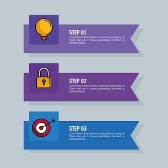 Infografica con tre passaggi con elementi aziendali