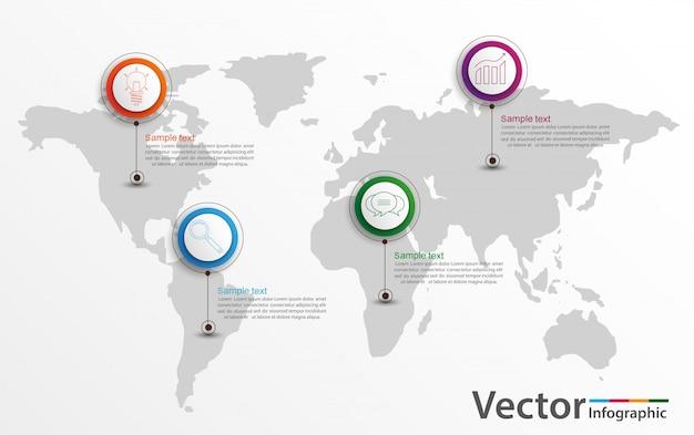 Modello di statistiche del mondo di infografica con icone per report e presentazioni