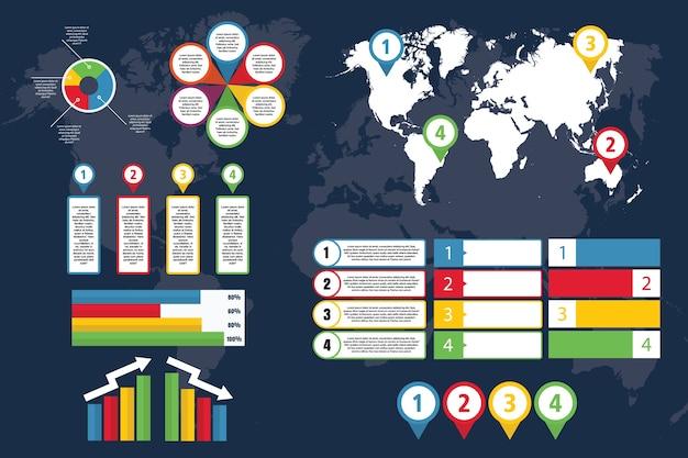 Infografica del mondo con mappa per affari e presentazione