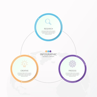 Elemento di infografica 3 di cerchi e colori di base per il presente concetto di business.