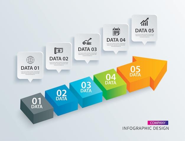 Infographics freccia timeline passo con 5 modelli di dati.