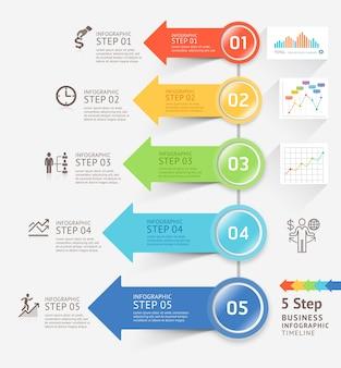 Modello di progettazione frecce infografica