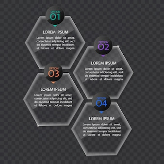 Modello di banner infografica in vetro o in stile lucido, concetto di business con 4 opzioni, formato vettoriale