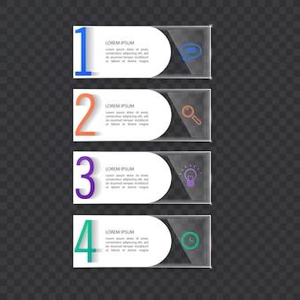 Modello di banner infografica in vetro o stile lucidoconcetto aziendale con 4 opzioni