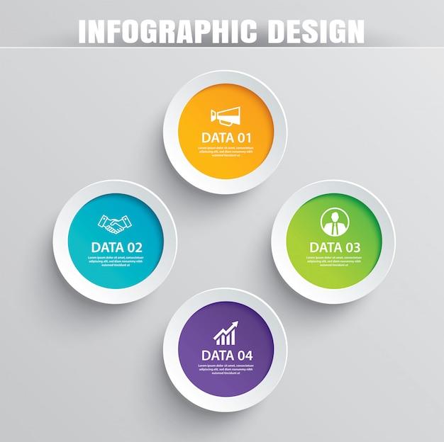 Carta cerchio infografica con 4 modelli di dati.