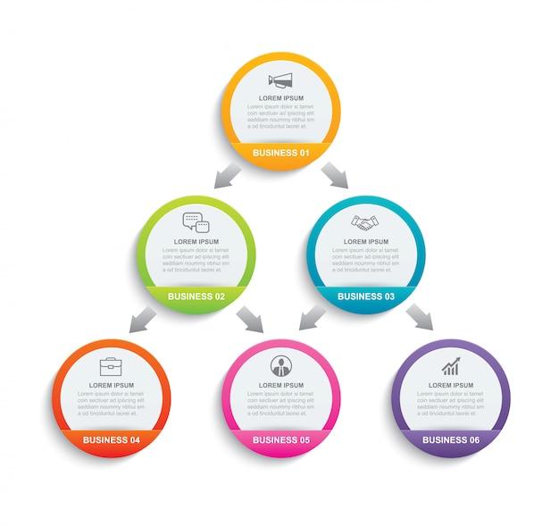 Carta del cerchio di infographics con 6 modelli di dati.