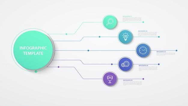 Opzioni o passaggi dei cerchi di infografica. concetto di affari, diagramma a blocchi, grafico delle informazioni, processi del grafico a torta.