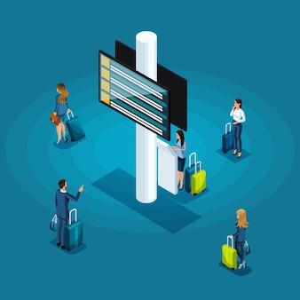 Concetto di infografica della sala d'attesa di un aeroporto internazionale, donne d'affari e uomini d'affari in viaggio d'affari