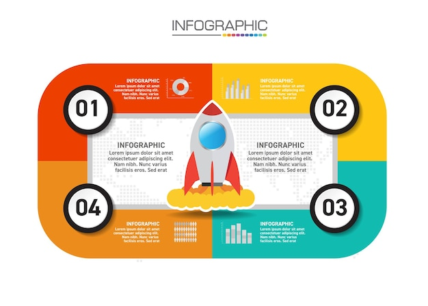 Progettazione infografica 4 passaggi con icone di marketing possono essere utilizzati per layout del flusso di lavoro, diagramma, relazione annuale, web design. Vettore Premium