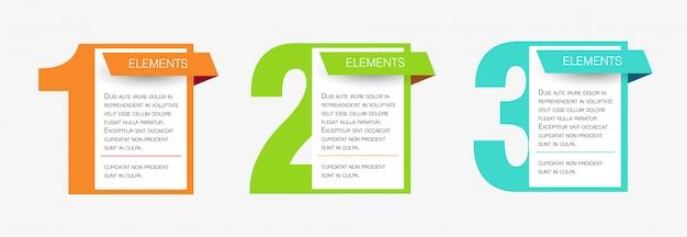 Concetto di business design infografica con 3 passaggi o opzioni