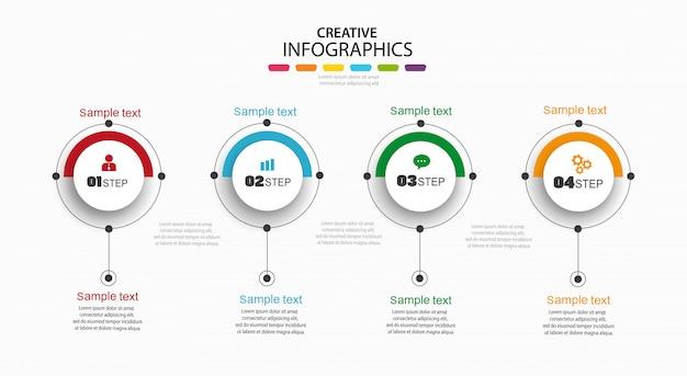 Concetto di design infografica con quattro opzioni, passaggi o processi
