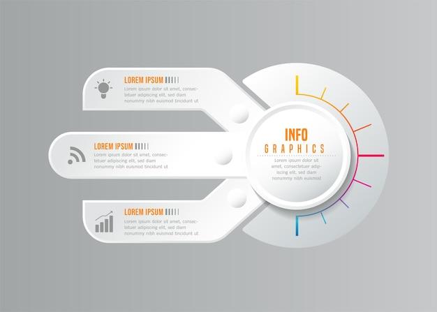 Grafico di presentazione delle informazioni aziendali del modello di progettazione di infographics con 3 opzioni o passaggi
