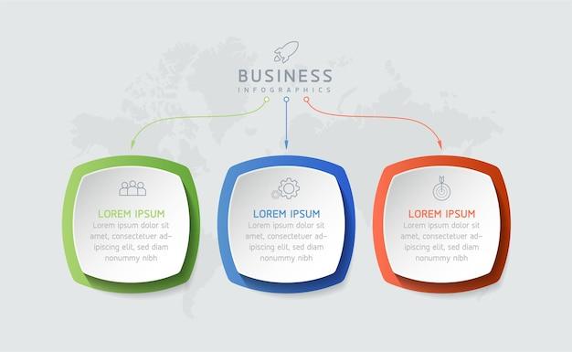 Grafico di presentazione delle informazioni aziendali del modello di progettazione infografica con 3 opzioni o passaggi