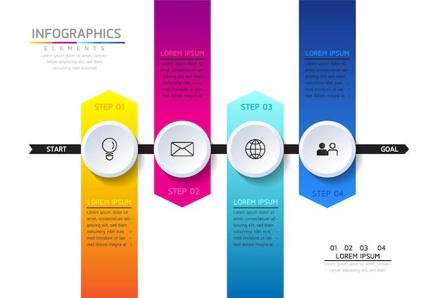 Grafico di presentazione delle informazioni aziendali del modello di progettazione di infographics con 4 opzioni o passaggi