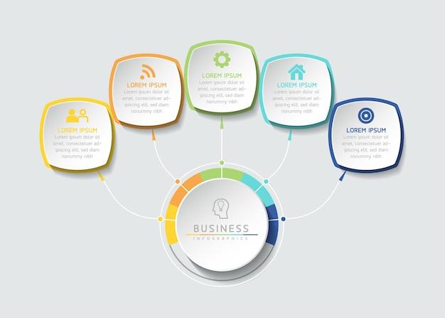 Grafico di presentazione delle informazioni aziendali del modello di progettazione infografica con 5 opzioni o passaggi