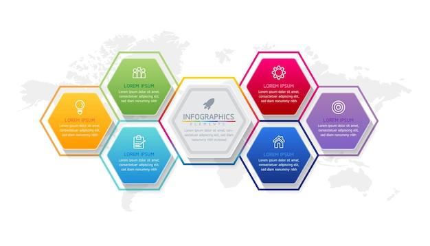 Grafico di presentazione delle informazioni aziendali del modello di progettazione di infographics con 6 opzioni o passaggi