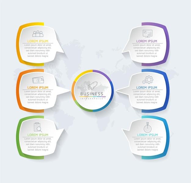 Grafico di presentazione delle informazioni aziendali del modello di progettazione infografica con 6 opzioni o passaggi