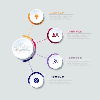 Grafico del modello di progettazione infografica con 4 opzioni o passaggi