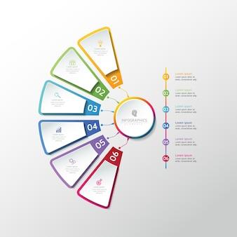 Grafico del modello di progettazione infografica con 6 opzioni o passaggi