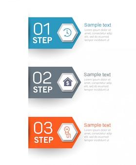 Modello struttura infografica con 3 opzioni, passaggi o processi