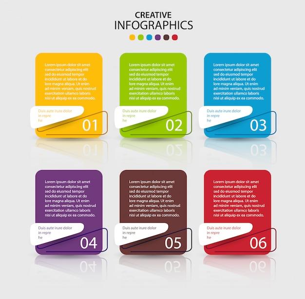 Modello di progettazione infografica con 6 passaggi o opzioni