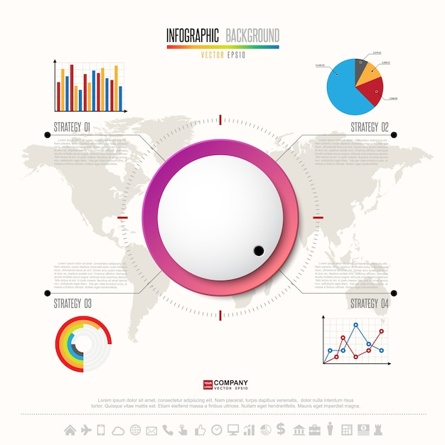 Modello di progettazione infografica con set di icone