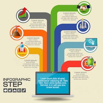 Modello struttura infografica con opzioni, diagramma di processo