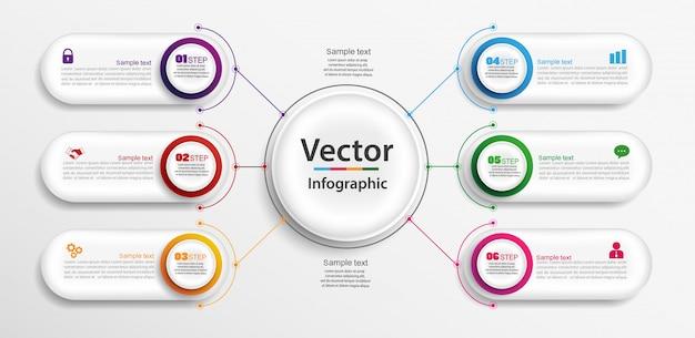 Progettazione infografica con 6 opzioni, passaggi o processi