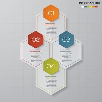 Elemento di infografica con 4 passaggi per la presentazione dei dati.