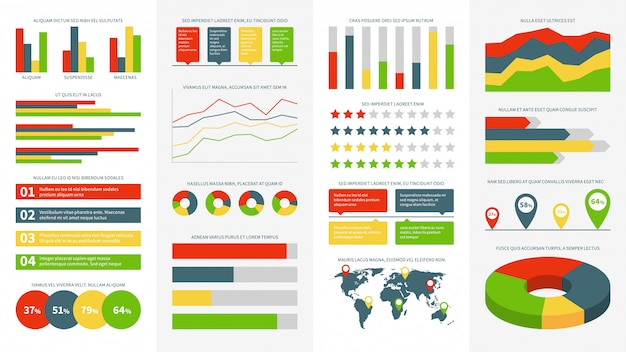 Elementi di infografica. grafici informativi, diagrammi e grafici. diagramma di flusso e cronologia per la presentazione della relazione di affari vettore infographic, progresso della progettazione e insieme del cerchio di vendita