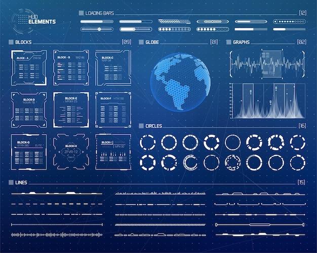 Set di elementi di infografica per interfacce hud sci fi