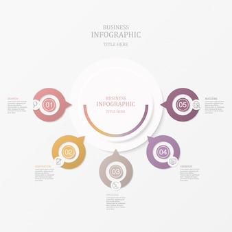 Infographics cinque cerchi ed icone dell'elemento per il concetto attuale di affari.