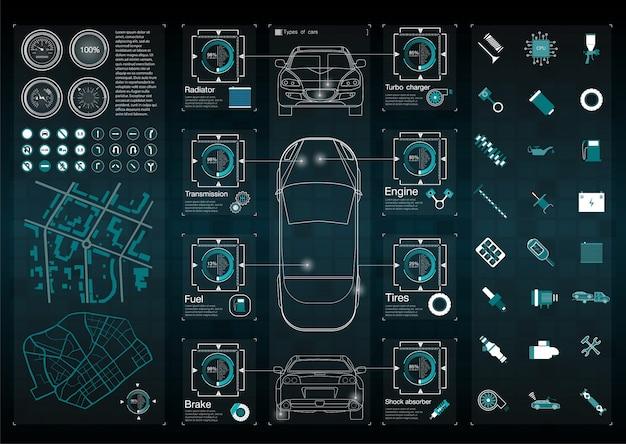 Infografica di trasporto merci e trasporto. modello di infografica automobilistica. interfaccia utente virtuale astratta di tocco grafico. diagnostica auto.