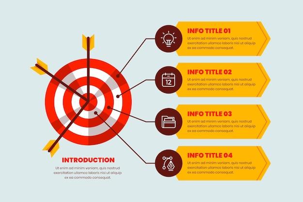 Obiettivi di infografica Vettore Premium