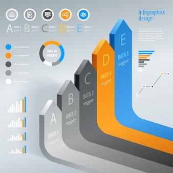 Infografiche. elemento di infografica freccia moderna. .